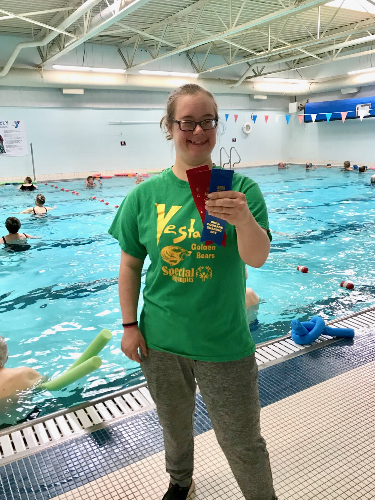 82cac89cecd Jessica s water exercise classes anxiously awaited the results of her  Saturday March 23rd Special Olympic Swim Meet. Everyone in the pool broke  out in ...